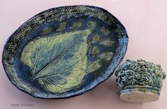 handbuilt tray and bowl with leaf print