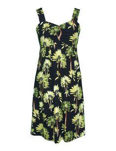 af1b8f61d3601 Fan Palm Short Tank Strap Dress Rayon Sundress Wide Strap Empire Design  Fully Smocked Back Knee Length Colors  Black