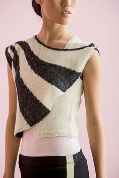 I love this shape and the stripes! Knitting pattern for Short Row Vest and more vest knitting patterns