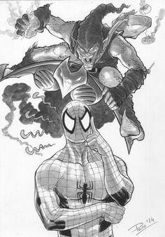 Spiderman vs Green Goblin by Paco Baidal