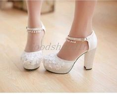 Women'S Platform Rhinestrone Lace Flower Buckle Wedding Gown Dress High Heels 39