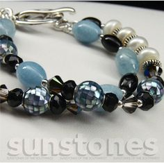 Aquamarine Mother of Pearl Mosaic Onyx Freshwater by SunStones, $75.00