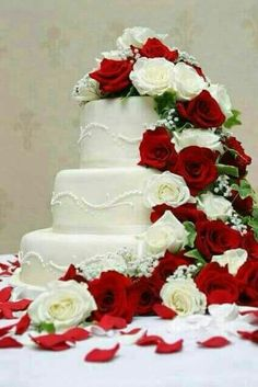 ideas wedding decorations red and white beautiful cakes .- ideas wedding decorations red and white beautiful cakes for 2019 ideas wedding decorations red and white beautiful cakes for 2019 - Christmas Wedding Cakes, Floral Wedding Cakes, Wedding Cake Decorations, White Wedding Cakes, Elegant Wedding Cakes, Wedding Flowers, Christmas Favors, Wedding Rings, Cream Wedding