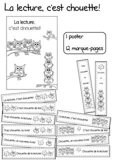 5 au quotidien et déclic: chouettes marque-pages French Teacher, Teaching French, Education And Literacy, Literacy Centers, Classroom Posters, School Classroom, Read To Self, Back Up, French Kids