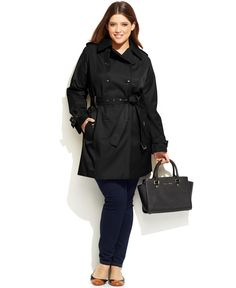 MICHAEL Michael Kors Plus Size Faux-Leather-Trim Trench Coat - Macy's Trench coat hits every seasonal style note. Cotton/polyester; lining: polyester; fake leather: polyurethane Machine washable Notched collar Double-breasted button closures at front Long sleeves; buckled tabs at cuffs Slit pockets at hips with decorative buttoned flaps Epaulettes at shoulders Self belt included; belt loops Fake leather trim at belt loops and buckles Logo lining Lightweight Hits at thigh; approx. 36 inches