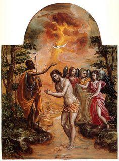 """Manierismo. El Greco: """"El bautizo de Cristo"""", del Tríptico de Módena (1568)."""