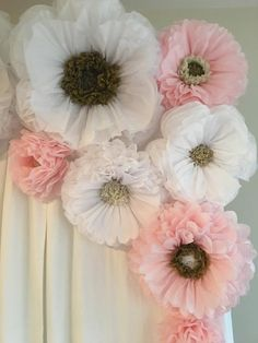Pink and white paper flower backdrop for quinceaneras, bridal or baby shower decorations, weddings, and home decor wall art is part of Paper flowers Let us create a gorgeous dreamscape for your spec - Paper Flowers Craft, Flower Crafts, Diy Flowers, Fabric Flowers, Large Flowers, Potted Flowers, How To Make Paper Flowers, Wedding Venue Decorations, Baby Shower Decorations