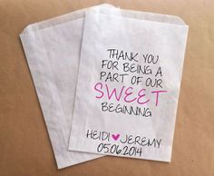 Custom Candy Bags for Candy Buffet Wedding by prettypaperparlor, $29.00/50 bags