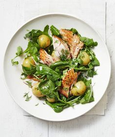 Salmon, Potato, and Arugula Salad with Dill Dressing | RealSimple.com