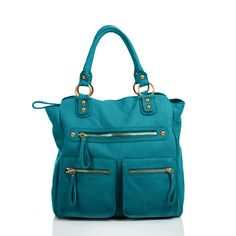 Linea Pelle Dylan Zip Tote #turquoise