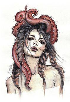 Совсем необычная, но красивая арт-идея: девушки и осьминоги | ТВОЙ ЛИЧНЫЙ АРТ | Яндекс Дзен