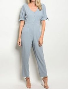 5afa37289c1 GRAY SHORT SLEEVE V NECK JUMPSUIT BY PIPER   SCOOT SIZE SML  fashion   clothing
