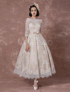 Spitze Kleid Vintage Bateau Champagner halblangen Ärmeln Brautkleid a-Linie rückenfrei Wadenlang Schärpe Rezeption Braut Brautkleid