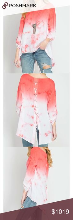 Coming soon 3/4 roll up sleeve coral tie dye top with back lace up detail 79% cotton, 30%polyester. Price will be $40 She and Sky Tops Blouses