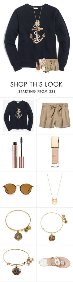 """now im watching devil wears prada"" by madelinelurene ❤ liked on Polyvore featuring J.Crew, Gap, Clarins, Ray-Ban, BaubleBar, Alex and Ani and Jack Rogers"