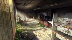 Abandoned Gas Station, Tysen Johnson on ArtStation at https://www.artstation.com/artwork/Zl1km