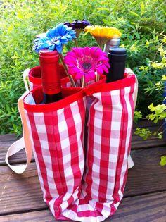 Bottle Tote Bag  Five Wine Bottle Carrier by LindasOtherLife, $30.00