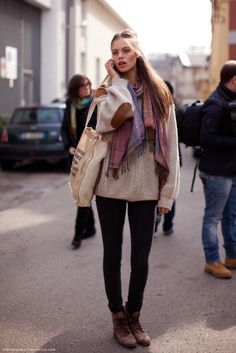 elbow patch chunky sweater and scarves