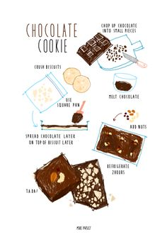 chocolate cookie recipe illustration instagram @moreparsley_ heavenkim.com/