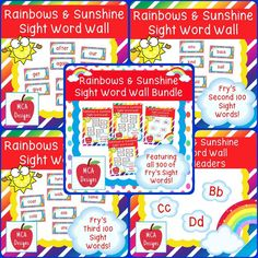 This bundle features all 300 of Fry's sight words! 183 pages of rainbow themed word wall posters to brighten your classroom!  My Rainbows and Sunshine Sight Word Wall Bundle includes: All 300 Fry sight words Coordinating word wall letter headers  #mca3designs #teacherspayteachers #tpt #sightwords #wordwall #bundle #classroomdecor #classroomtheme #ela #reading #backtoschool #teachers #elementary