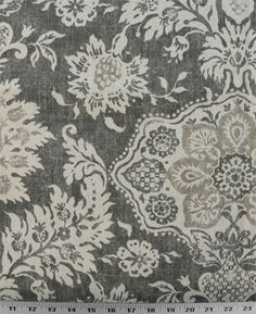 Belmont Metal | Damask-like floral design printed on a cotton duck base. Colors are tan and natural on a gray background. Perfect for draperies, comforters and duvets, slipcovers, light upholstery, purses and totes, throw pillows, and much more. Medium drape. $8.98/yard