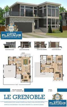 Modèle de maison neuve : Le Grenoble - Le Groupe Platinum - Construction de maisons et condos neufs. Sims House Plans, Family House Plans, Dream House Plans, House Floor Plans, Contemporary House Plans, Modern House Plans, Modern House Design, Home Building Design, Home Design Plans