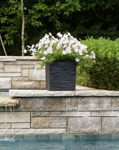 Serenity planter is beautiful filled with white summer florals. Made with plant-safe crumb rubber from used car tires diverted from landfill. Urn Planters, Recycled Rubber, Timeless Design, Container Gardening, Serenity, Florals, Eco Friendly, Recycling, Car