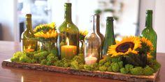 Simple DIY Centerpiece on a Budget - using wine bottles! Tutorial