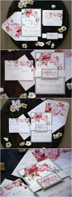 Custom Modern Floral Wedding Invitation Best Unique