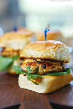 12 Amazing Super Bowl Party Food Ideas: Switch up your sliders with these grilled thai spiced chicken versions with Sriracha mayo, bok choy, and fresh cilantro. SO GOOD. | Get the Recipe... @STYLECASTER