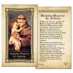 Unfailing Prayer to St. Anthony Laminated Prayer Card