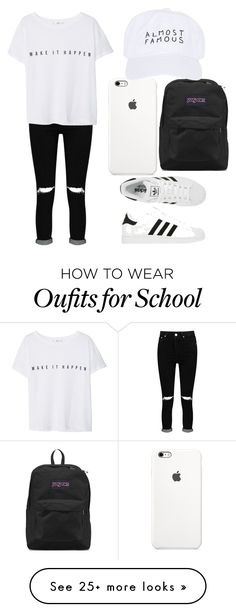 """Casual Wednesday School"" by kellyaguilera on Polyvore featuring Boohoo, adidas, MANGO, JanSport, Nasaseasons, casual, school and teen"