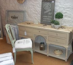 Loving Autentico chalk paint.  Colours used here are Surrey Hills (chair) and Antique White (console table). Wall panel in colour Loft with stencilling in Ice Cream.