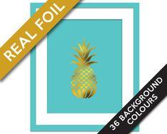 Pineapple Print - Gold Foil Print - Food Poster - Real Foil Kitchen Wall Art - Gold Food Art - Kitchen Art Print - Gift for Chef - Fruit Art