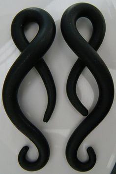 Body Candy Iron Wood Blue Stone Tribal Spiral Taper Set of 2 0 Gauge