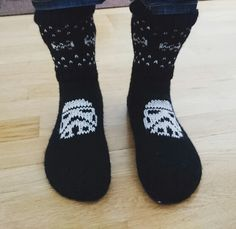 Knitted Star wars socks for my boyfriend. He kind of liked them. #stormtrooper #starwars #tiefighter