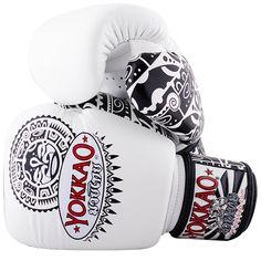 f6c73816f1906f Yokkao Muay Thai Velcro Boxing Gloves - White Black Workout Gear