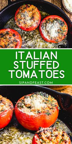 Italian Style Stuffed Tomatoes | These stuffed tomatoes with garlic, parsley, breadcrumbs, and Pecorino Romano stuffing are great to make ahead for a party appetizer or tasty side dish! #appetizers #italianrecipe #stuffedtomatoes #tomatorecipes #sidedish Healthy Weeknight Meals, Easy Meals, Casserole Recipes, Crockpot Recipes, Creamy Pasta Bake, Italian Side Dishes, Stuffed Tomatoes, Best Dinner Recipes, Simple Recipes