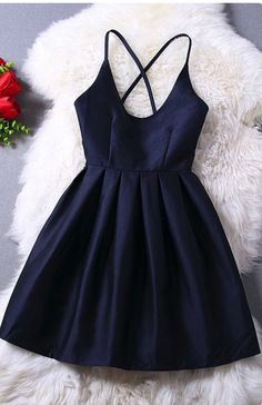 Black Homecoming Dress Spaghetti Strap Taffeta Mini Short Party Dress APD1617 on Storenvy