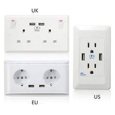 New 13/15/16A UK/US/EU Trắng Ổ Cắm Đôi Kép USB 5 V 2A Charger For Mobile Điện Thoại Điện Điện Tường Cắm Adapter Hai USB cửa hàng