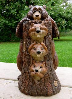 Bear 3 Gophers Statue See Speak Hear No Evil Resin Figurine Cottage 9 5 In | eBay