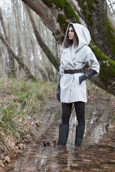 Grey wool hooded coat ARES and light grey cotton shirt AMALTIA