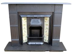 SS087 - ORIGINAL VICTORIAN STENCILLED SLATE FIRE SURROUND WITH TILED INSERT