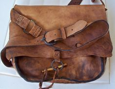 Primitive Mountain Man Antelope leather Possibles Bag or Messenger Bag with Aged Patina
