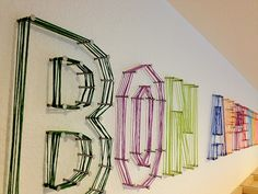 DIY Anthropologie Nail and String Letters String Letters, String Art, Nail String, Yarn Letters, Diy And Crafts, Arts And Crafts, Look What I Made, Letter Wall, Abc Wall