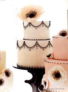 Beautiful black and white cake