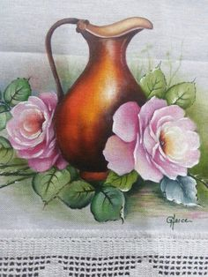 Easy Paintings, Beautiful Paintings, Flower Prints, Flower Art, Painted Milk Cans, Border Embroidery Designs, Cute Coloring Pages, Blue Roses, Fabric Painting