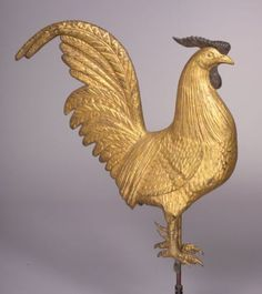 "Molded Copper Gilded ""Hamburg"" Rooster Weather Vane, possibly L.W. Cushing & Sons, Waltham, Massachusetts, late 19th century, or Puritan Iron Works, Boston, 1903-31."