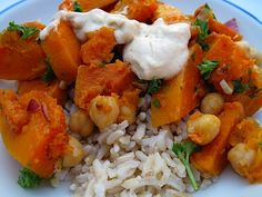 Warm Butternut and Chickpea Salad with Tahini