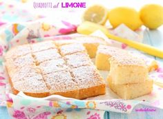 Quadrotti al limone Vanilla Cake, Camembert Cheese, Tea Time, Cereal, Dairy, Sweets, Breakfast, Desserts, Food